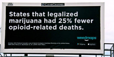 Activists buying billboards to show cannabis can treat opioid addiction 2 of 2 386x193 Indiana NORML seeks to combat the states opioid crisis with commonsense cannabis billboards